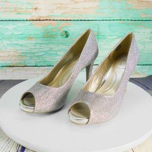 Bandolino  Rainna Shiny Silver Evening Shoes